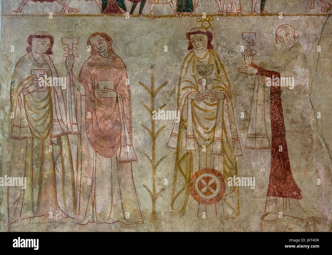 Danish medieval religious fresco from the 14th century in the Romanesque style Oerslev Church depicting apostles - Stock Image