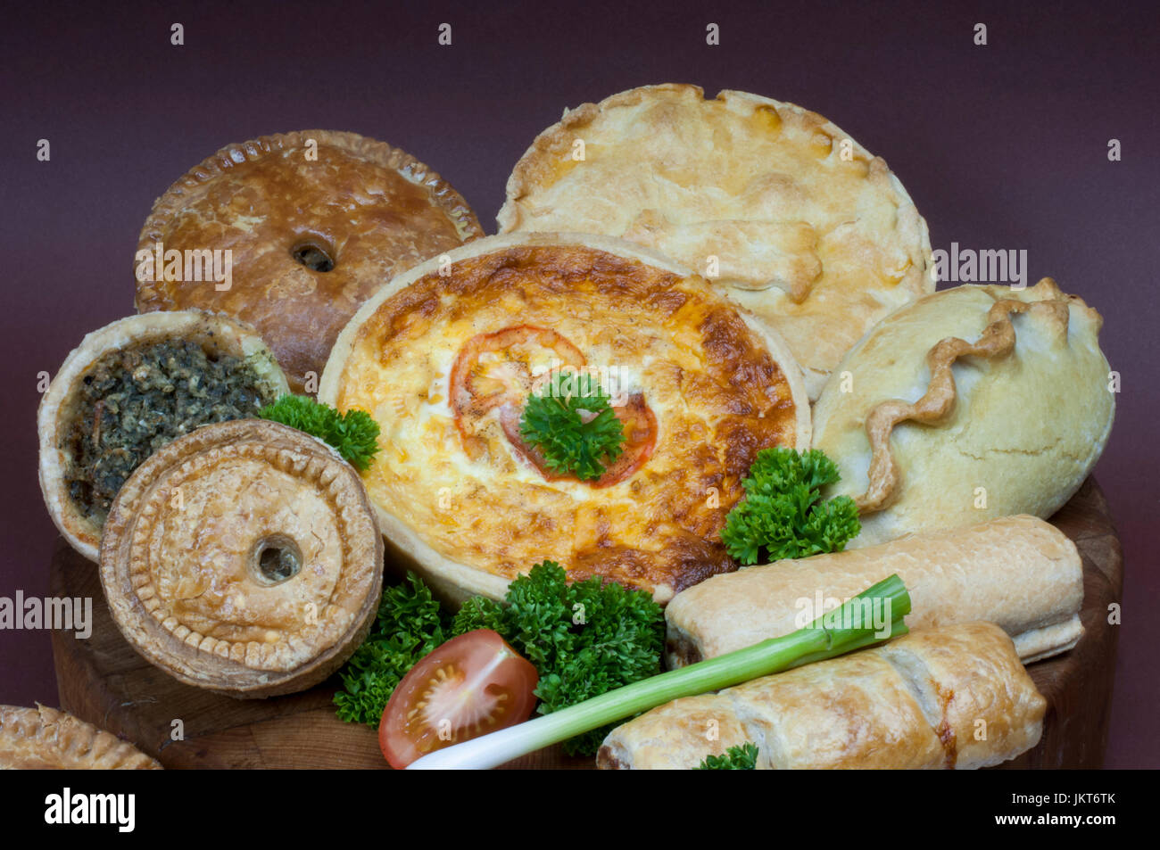 A selection of British meat pies flans pasties - Stock Image