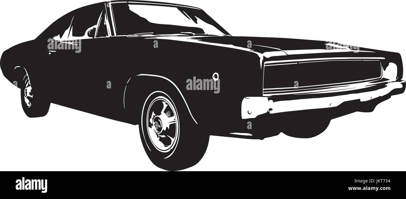 American vintage Muscle Car silhouette Stock Vector Art ...
