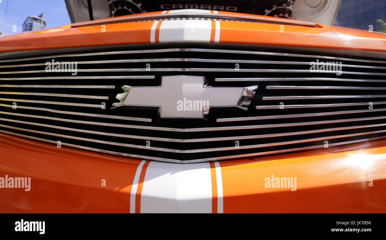 Montreal,Canada 23 July,2017.Front grille of a Chevrolet Camaro at the Just for Laughs festival.Credit:Mario Beauregard/Alamy - Stock Image
