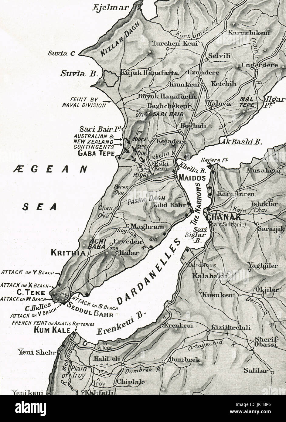 Map of Dardanelles & Gallipoli peninsula, Dardanelles campaign, 1915 Dardanelles Map on
