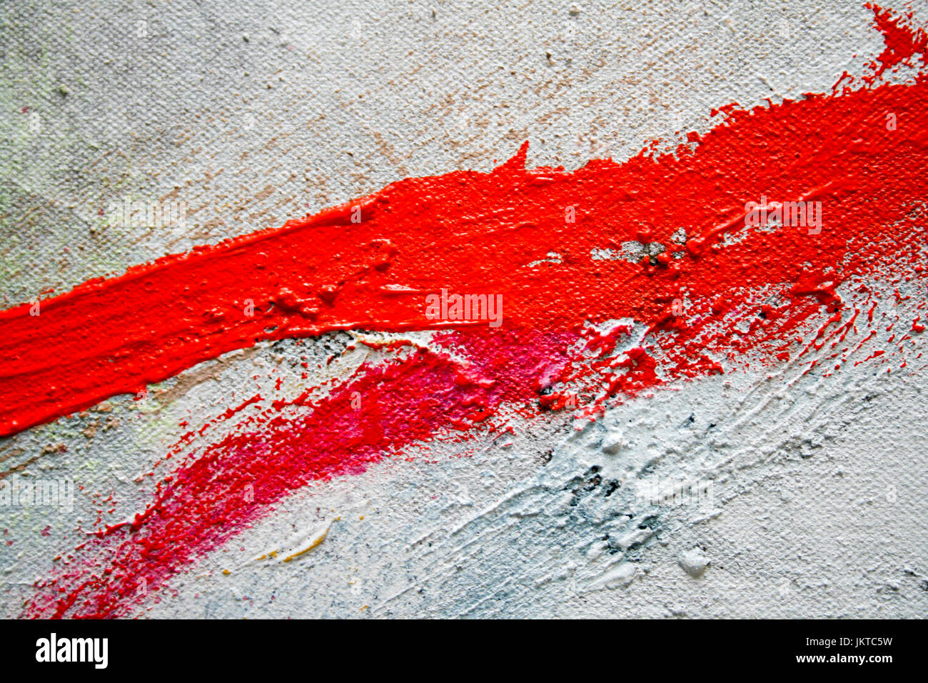 Red Paint Stroke. Photography by Kim Craig. - Stock Image