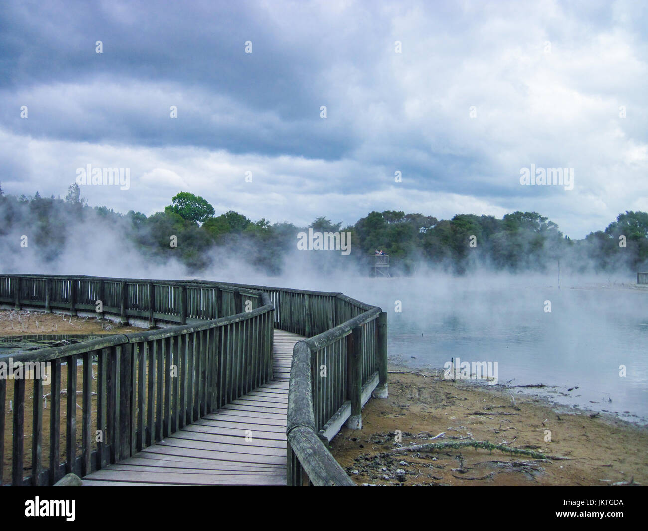 Wooden bridge travels through geothermal steam at Kuirau Park in Rotorua on an overcast day with dramatic clouds. - Stock Image