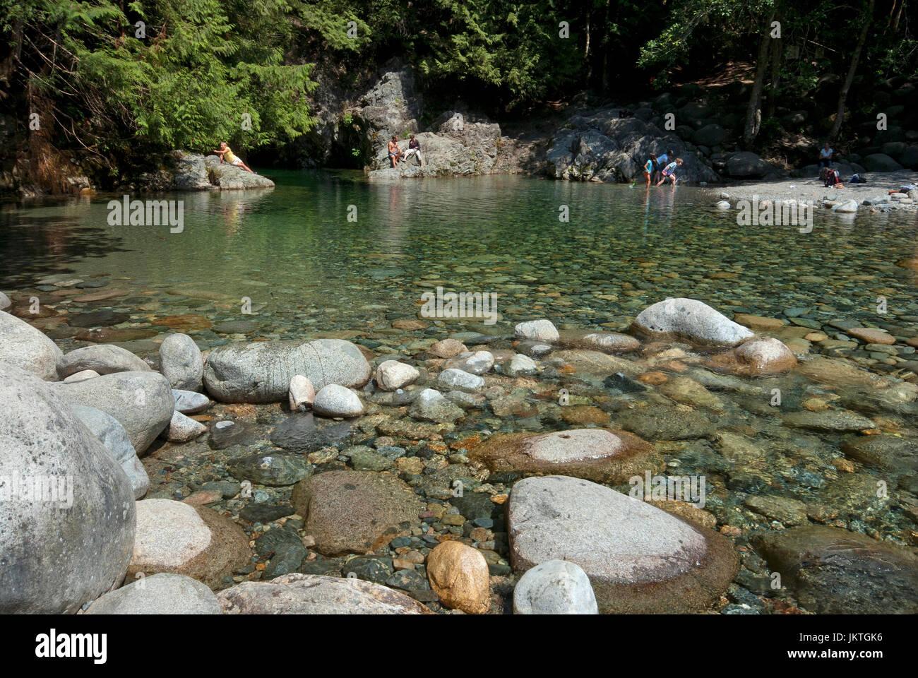 Natural pool formed by Lynn Creek, Lynn Canyon Park, North Vancouver, British Columbia, Canada - Stock Image
