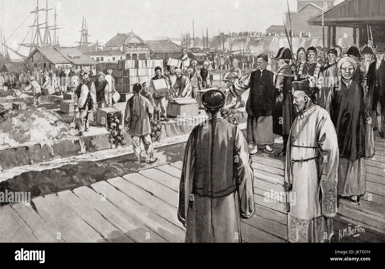 Commissioner Lin with an imperial commission from the Daoguang Emperor to halt the illegal importation of opium - Stock Image