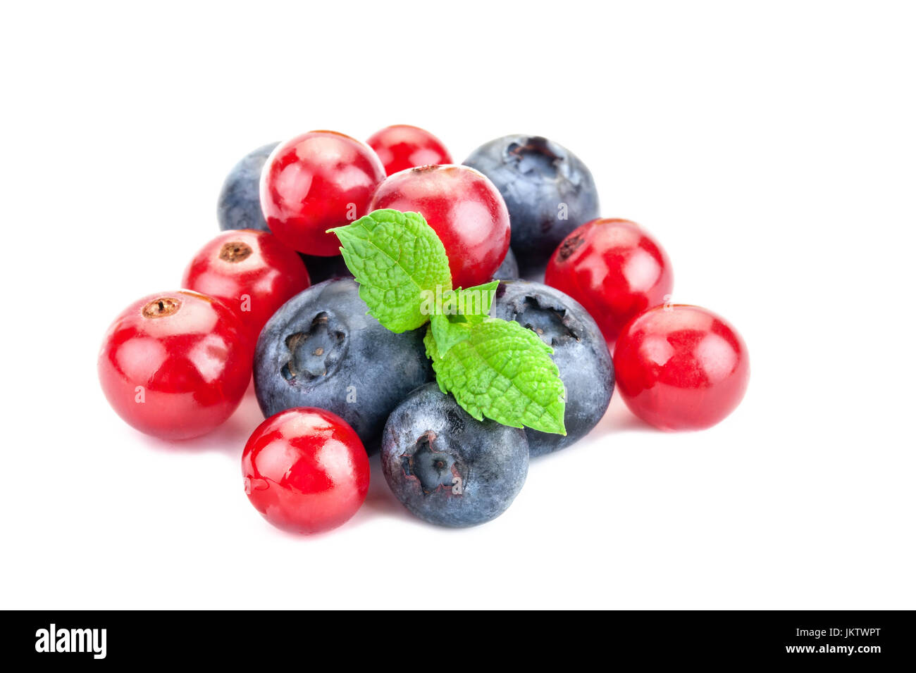 a bunch of fresh berries on a white background. Ripe Sweet Blueberry and red Currant. Stock Photo