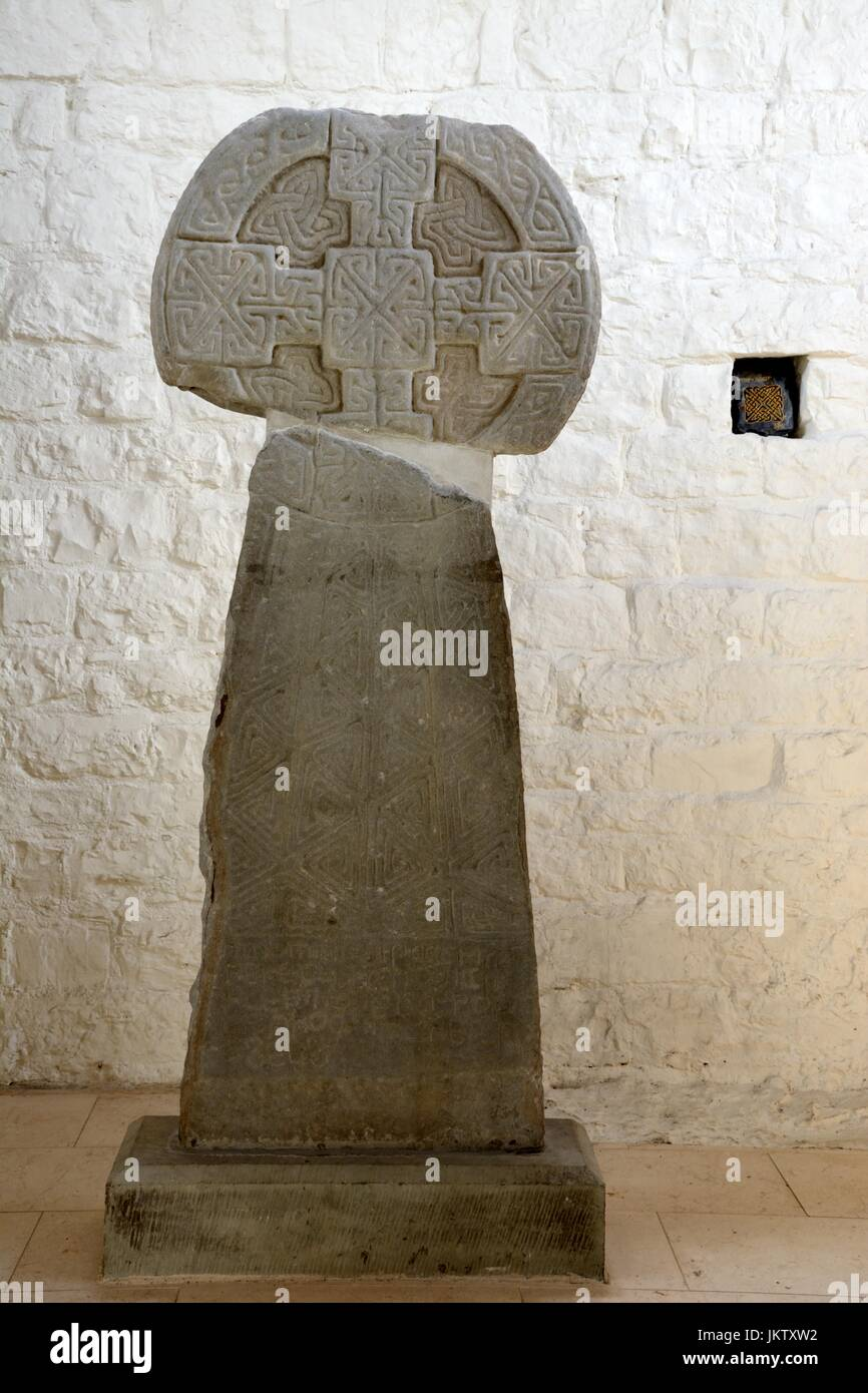 Houlet Stone or The wheel cross of Houlet dating from the 9th century St Liituds church Llantwit Major Vale of Glamorgan - Stock Image