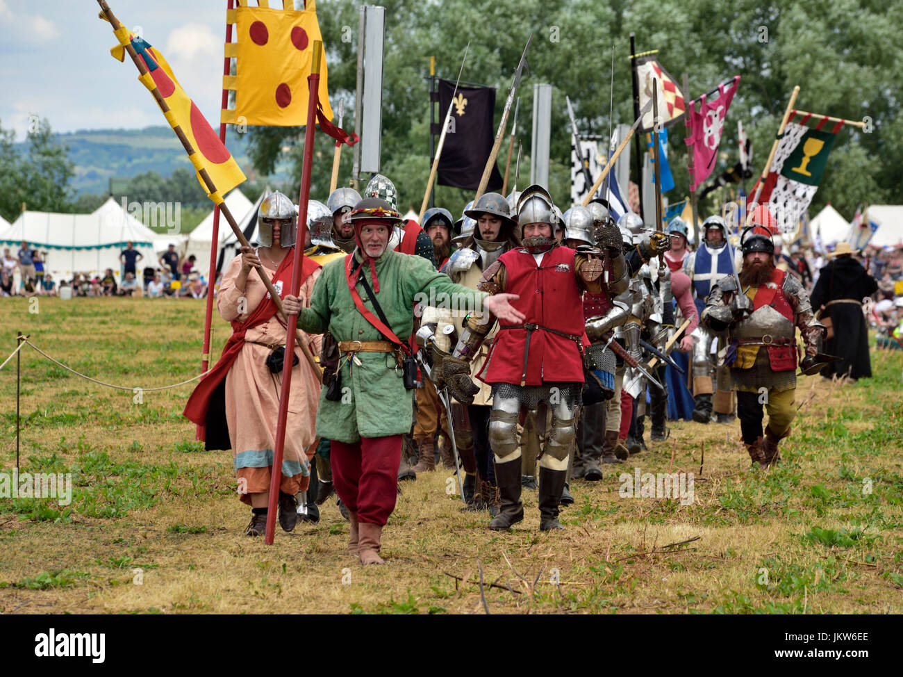 Re-enactor knights in armour marching, Tewkesbury Medieval Festival, 2017 - Stock Image