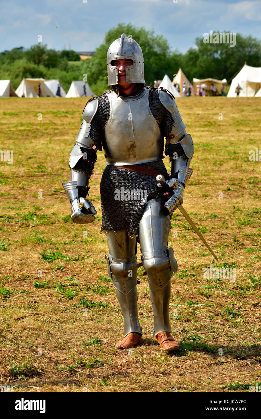 Mediaeval knight in armour on field of battle of Tewkesbury in 1471, re-enactment - Stock Image
