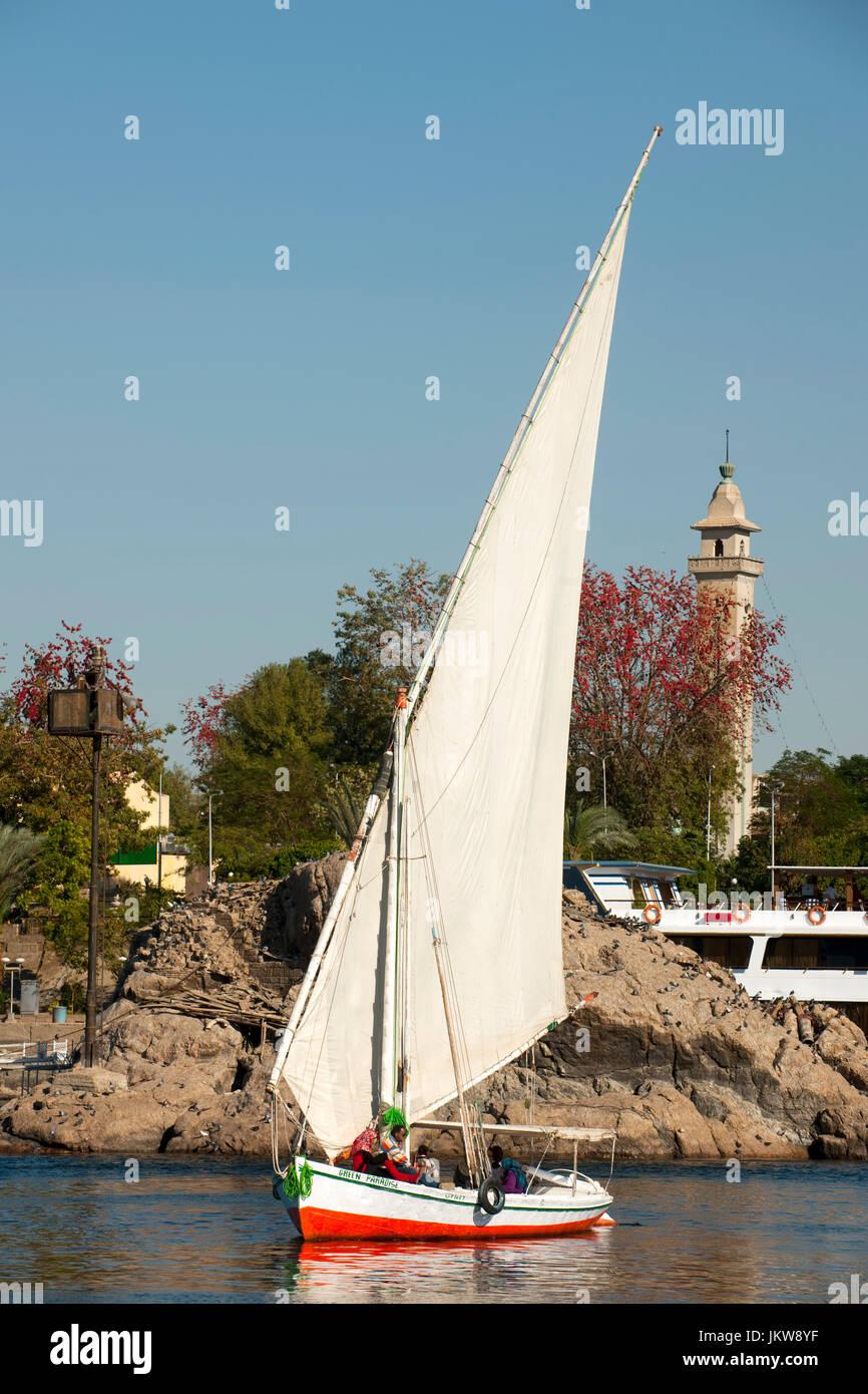 Ägypten, Assuan, Segelboot, - Stock Image