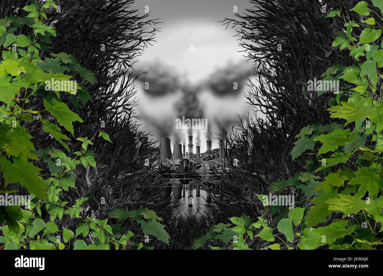Pollution poison danger concept as an industrial scene discovered through a surreal forest shaped as a death skull - Stock Image