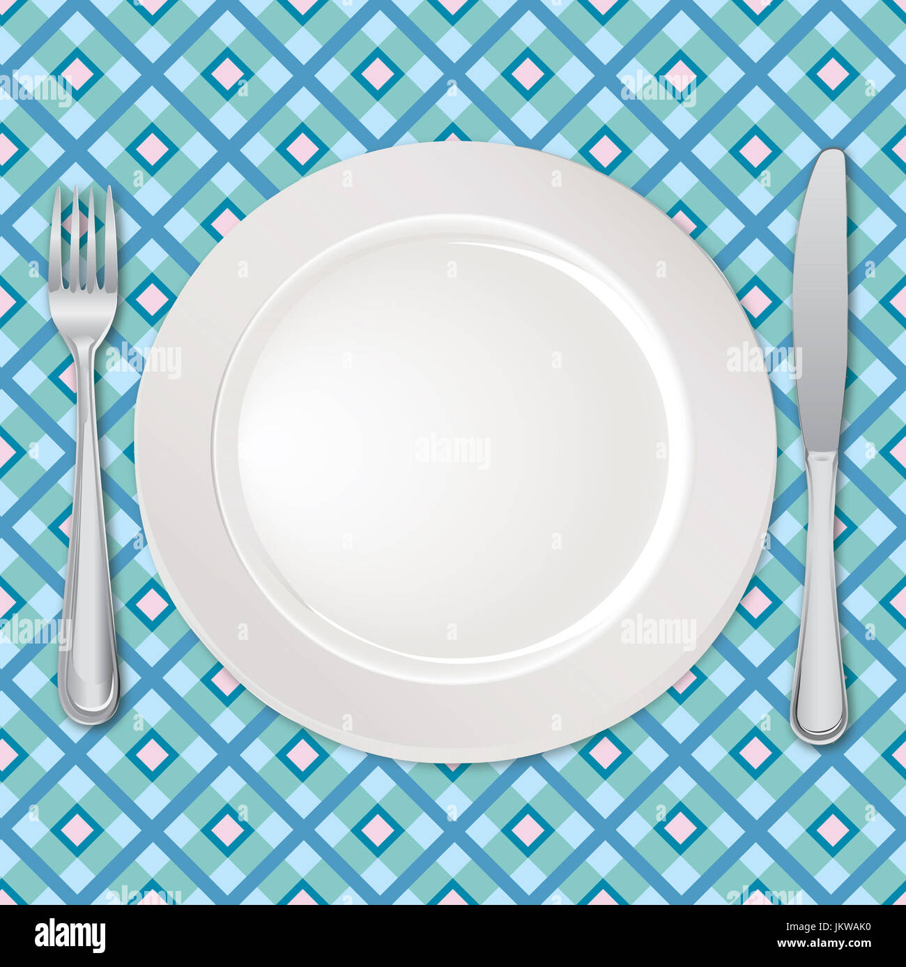 Table setting set. Fork Knife Spoon Empty Plate set. Cutlery white collection. Catering vector illustration. Restaurant service. Banquet still life  sc 1 st  Alamy & Table setting set. Fork Knife Spoon Empty Plate set. Cutlery ...