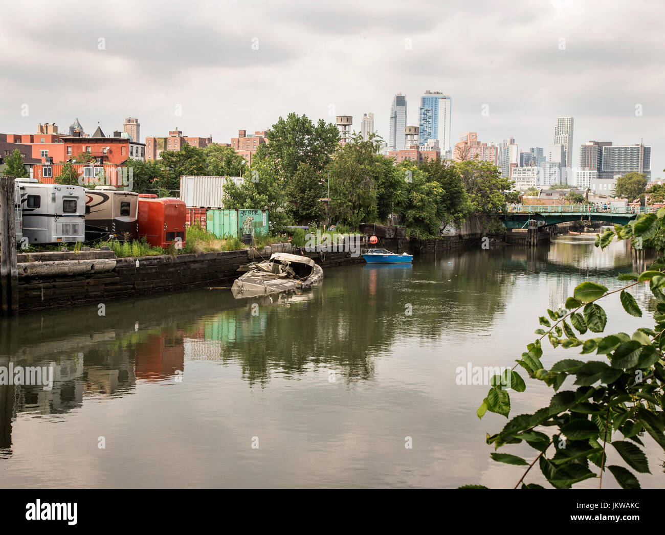 The Gowanus Canal in Brooklyn, New York - Stock Image