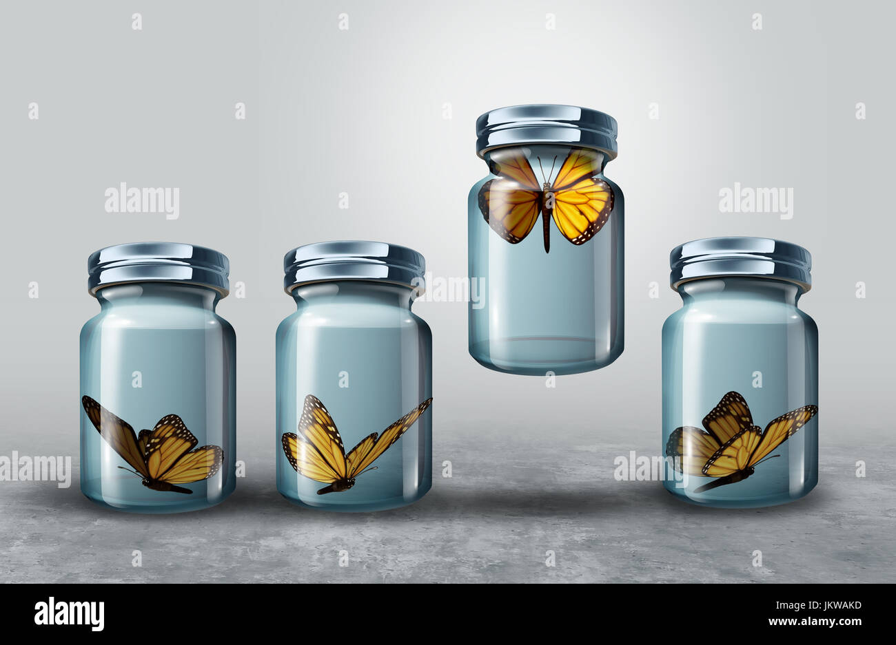 Concept of leadership and powerful business visionary metaphor as a group of resting butterflies in a closed glass - Stock Image