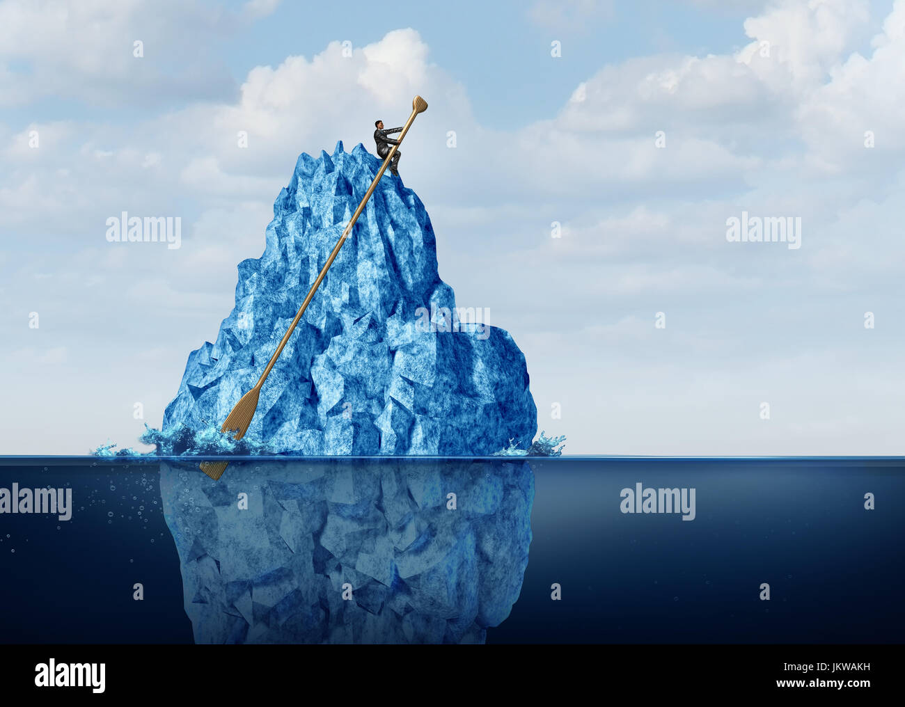 Managing business obstacles and controlling economic risk and challenges as a businessman on an iceberg with an - Stock Image