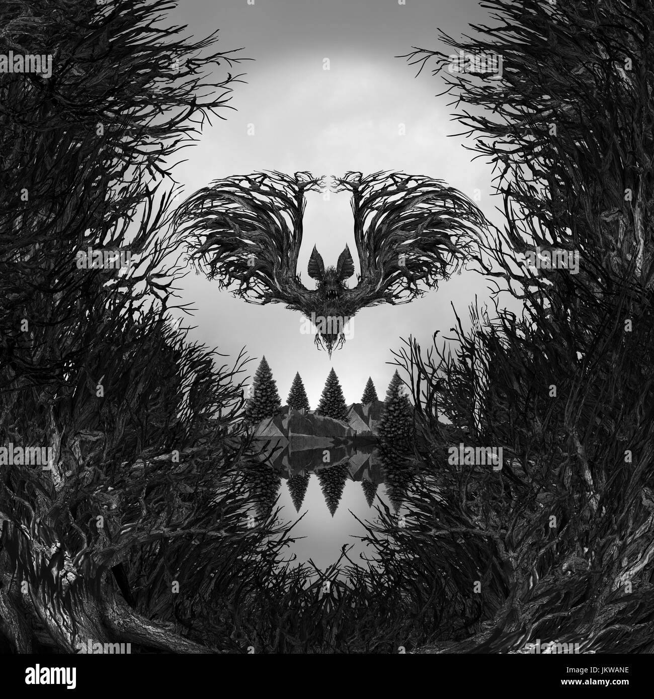 Scary Skull background as a surreal haunted forest with dead trees and mountain shaped as a possessed skeleton head. - Stock Image