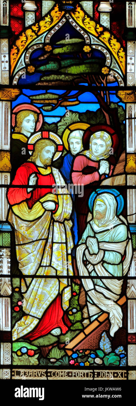 Miracles of Jesus, Raising of Lazarus, stained glass window, by Heaton Butler & Bayne, 1878, Swaffham, Norfolk, - Stock Image