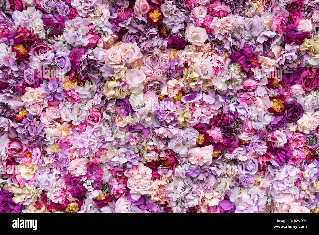Flower texture background for wedding scene. Roses, peonies and hydrangeas, artificial flowers on the wall. - Stock Image
