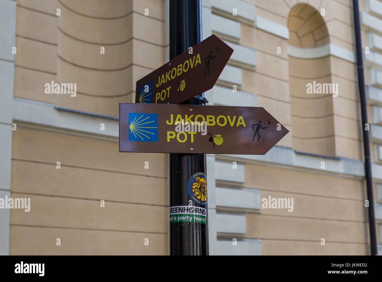 A post marking the Way of St. James In Slovene: Jakobova pot), Ljubljana, Slovenia - Stock Image