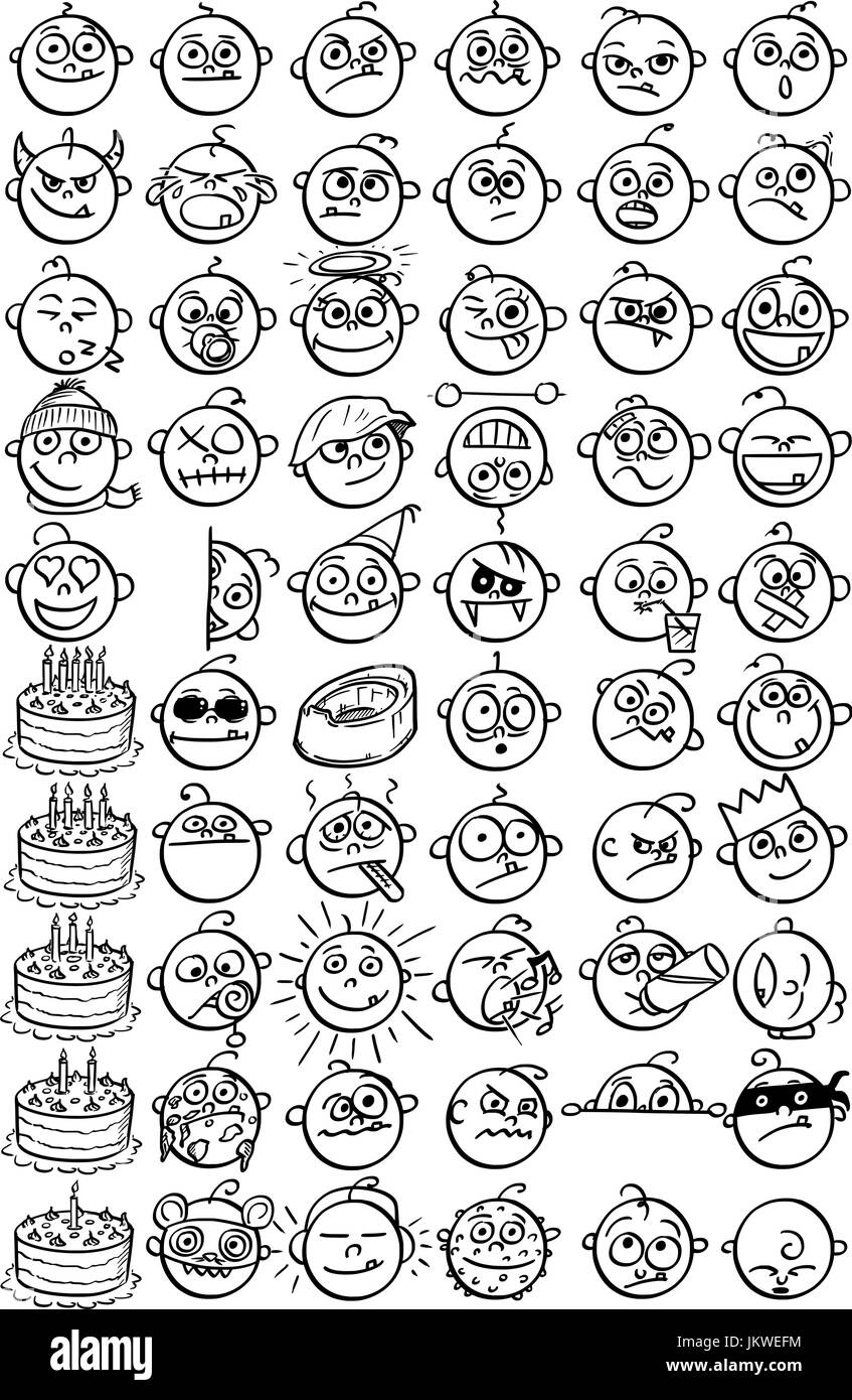 Large set of 60 hand drawn baby smiley faces emoticons. - Stock Image