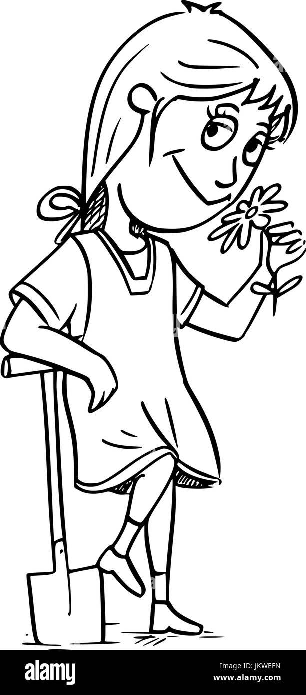gardener illustration stock photos gardener illustration stock Types of Shovels hand drawing cartoon illustration of small girl gardener with shovel smelling the flower stock