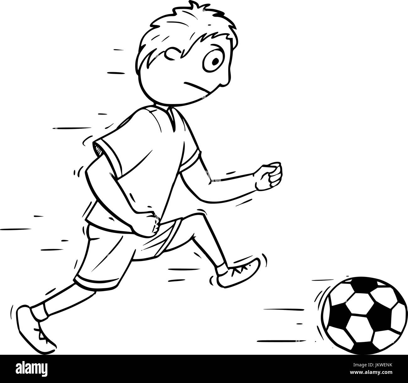 Hand drawing cartoon vector illustration of a boy playing Football Soccer with a ball. - Stock Vector