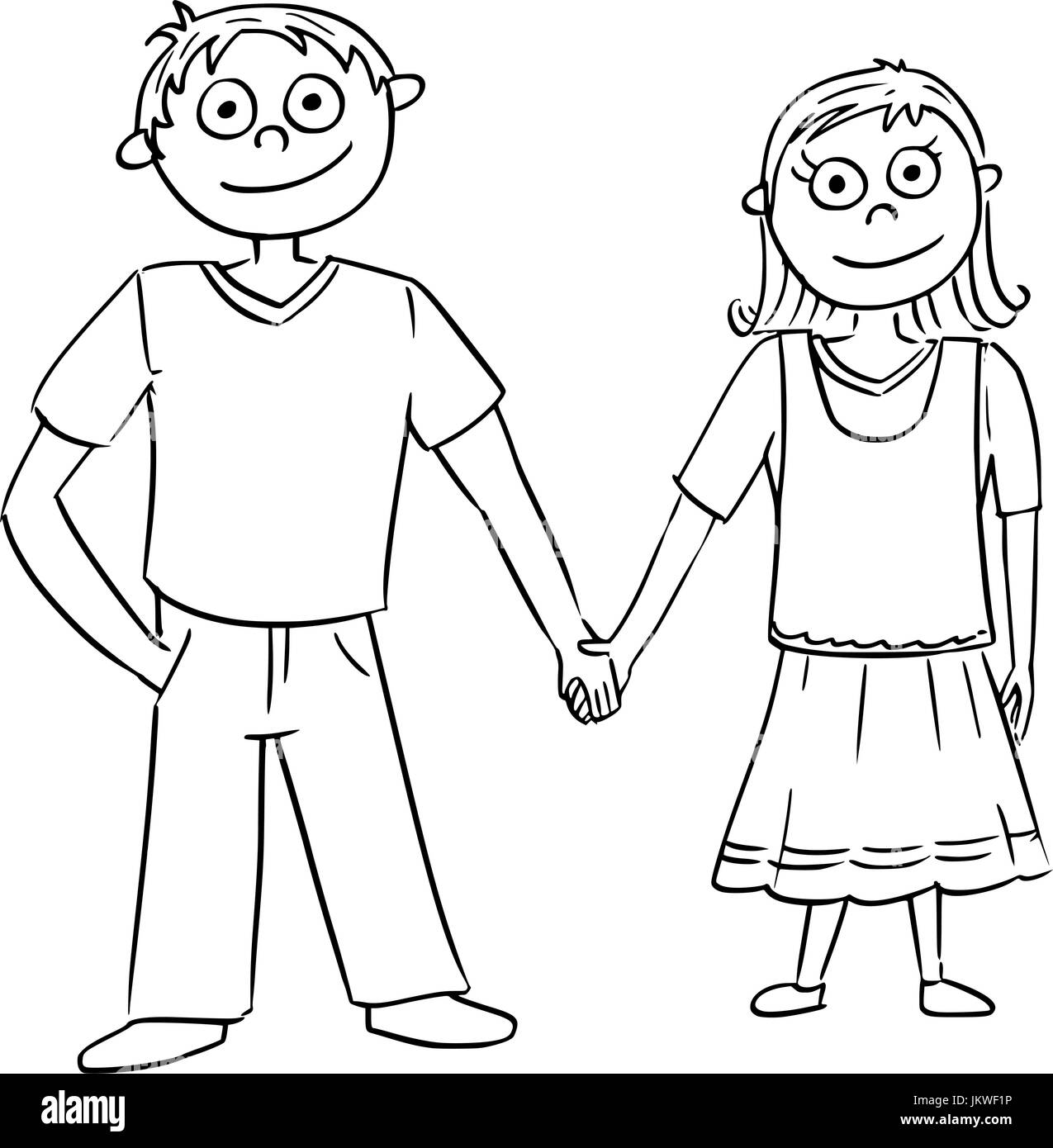 Hand Drawing Cartoon Vector Illustration Of Boy And Girl Or Young