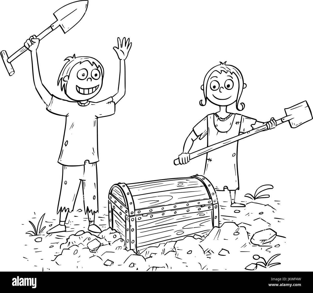 Hand drawing illustration of happy boy and girl who found pirate treasure chest. - Stock Image