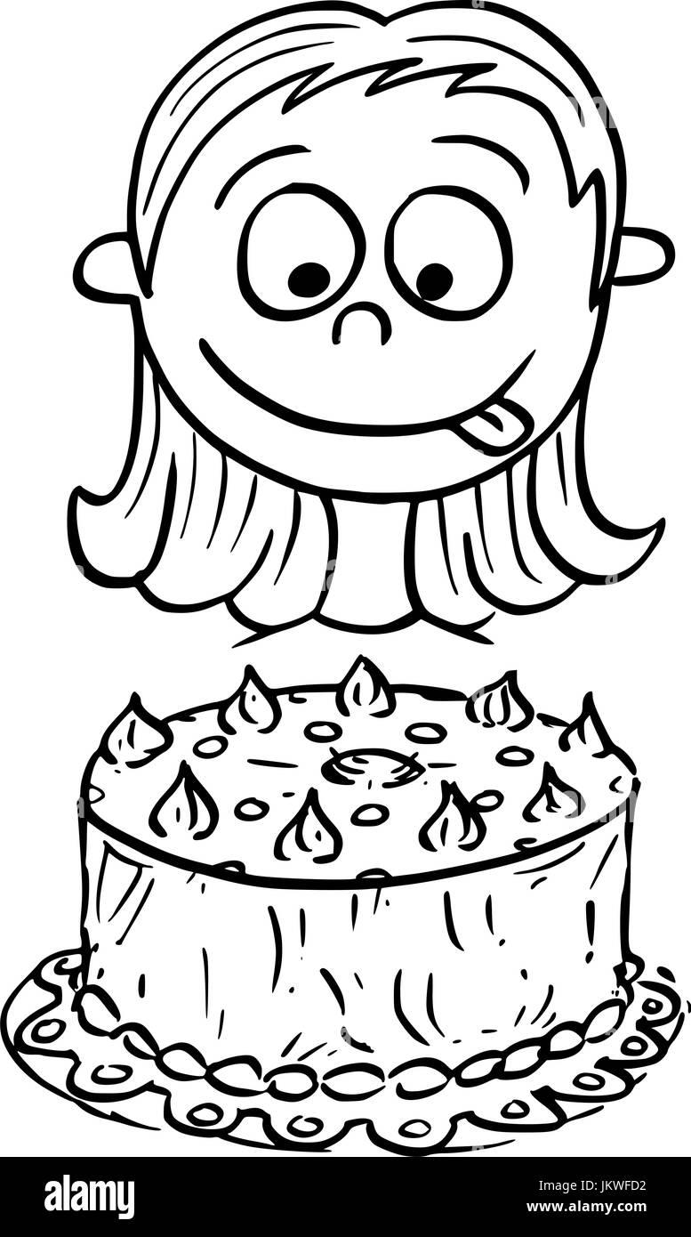 Hand Drawing Cartoon Vector Illustration Of Girl Looking At Birthday