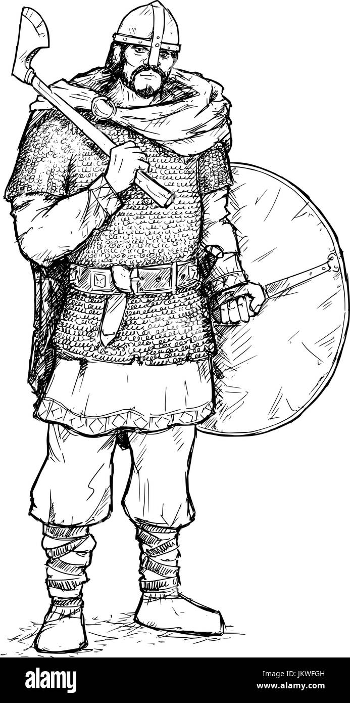 Hand drawing pen and ink illustration of ancient viking warrior in ring mail with war axe and shield. - Stock Image