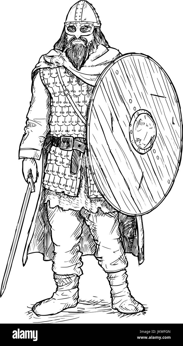 Hand drawing pen and ink illustration of ancient viking warrior in scale mail armor with helmet, sword and shield. - Stock Image