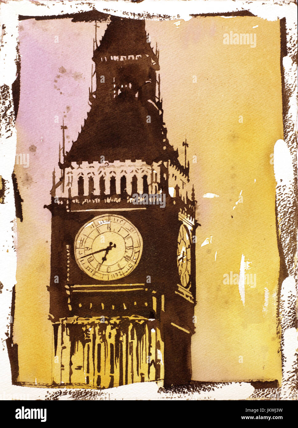 Fine art watercolor painting w/ faux photo borders of Big Ben (clock ...
