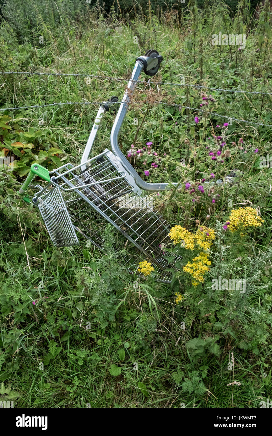 Abandoned supermarket trolley, England UK - Stock Image