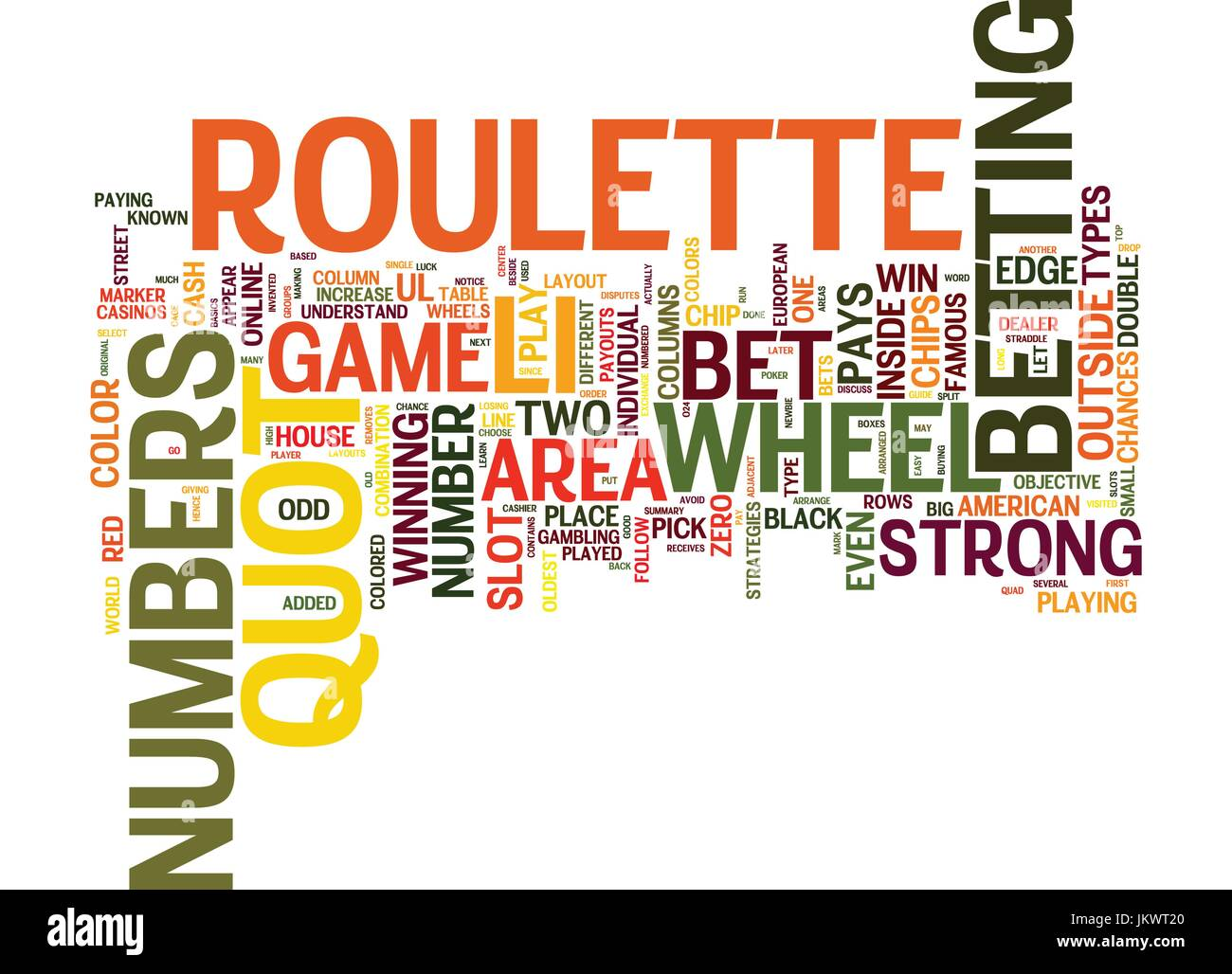 YOUR GUIDE ON HOW TO PLAY ROULETTE Text Background Word Cloud Concept Stock Vector