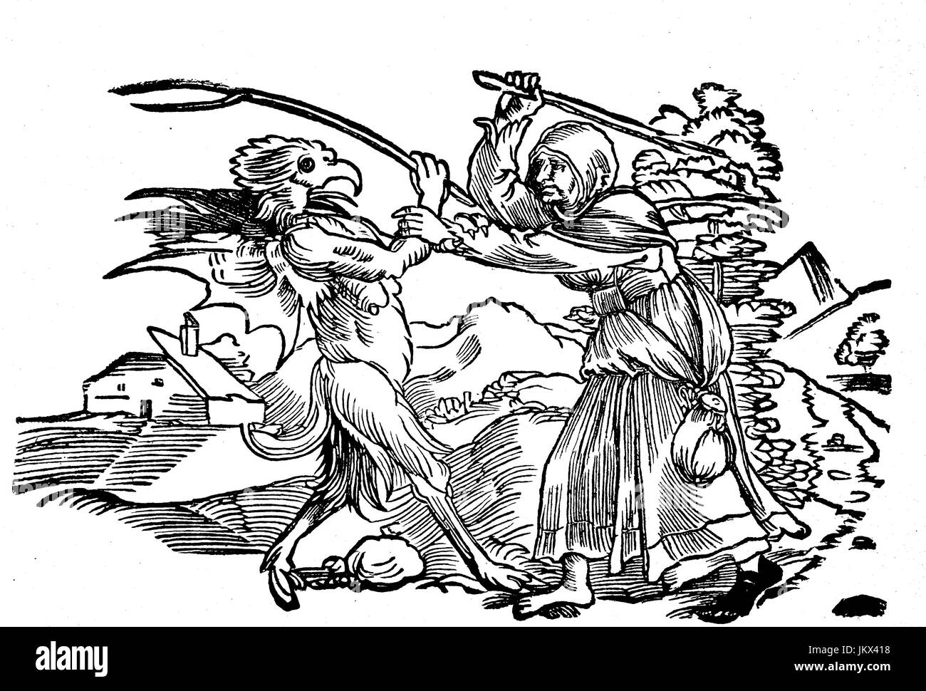 Digital improved:, Old woman in battle with the devil, woodcut, publication from the year 1882 Stock Photo