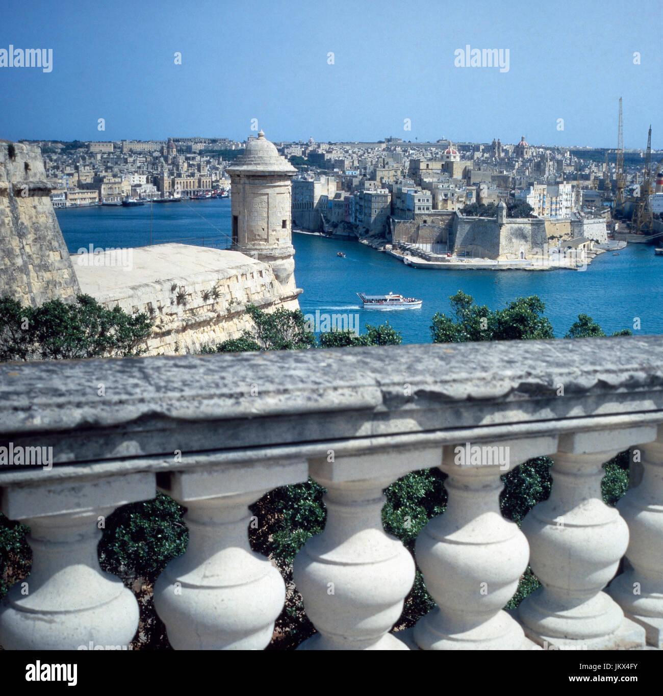 Blick auf das Fort St. Angelo in La Valletta, auf der Insel Malta, Spanien 1980er Jahre. View to the St. Angelo - Stock Image