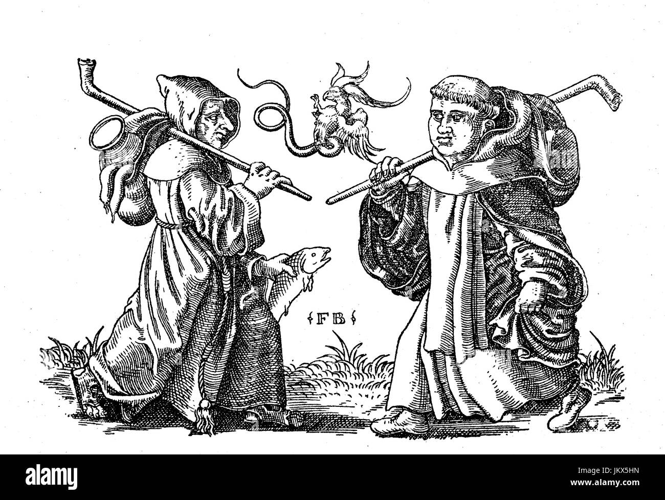 Digital improved:, Two begging monks, copper engraving by Franz Brun around 1560, publication from the year 1882 Stock Photo