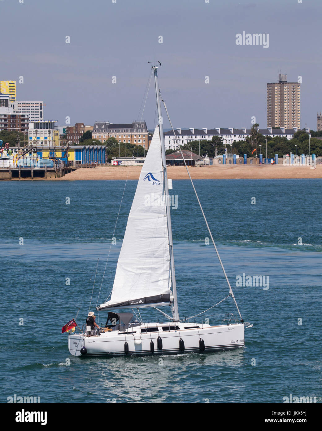 Hansa 345 yacht 'Cheeky Vins' sailing in Spithead - Stock Image
