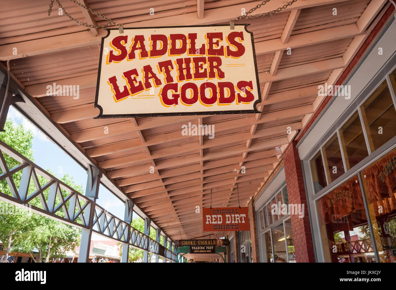 Sign over saddle and leather goods boutique, Tombstone Arizona - Stock Image
