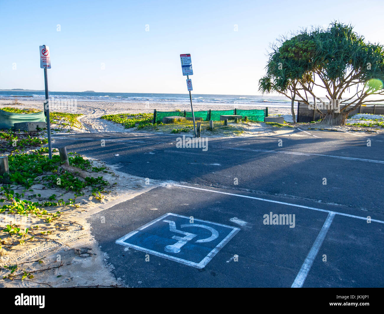 Disabled Carpark Beside Beach enabling Easy Access and Freedom to Enjoy Life - Stock Image