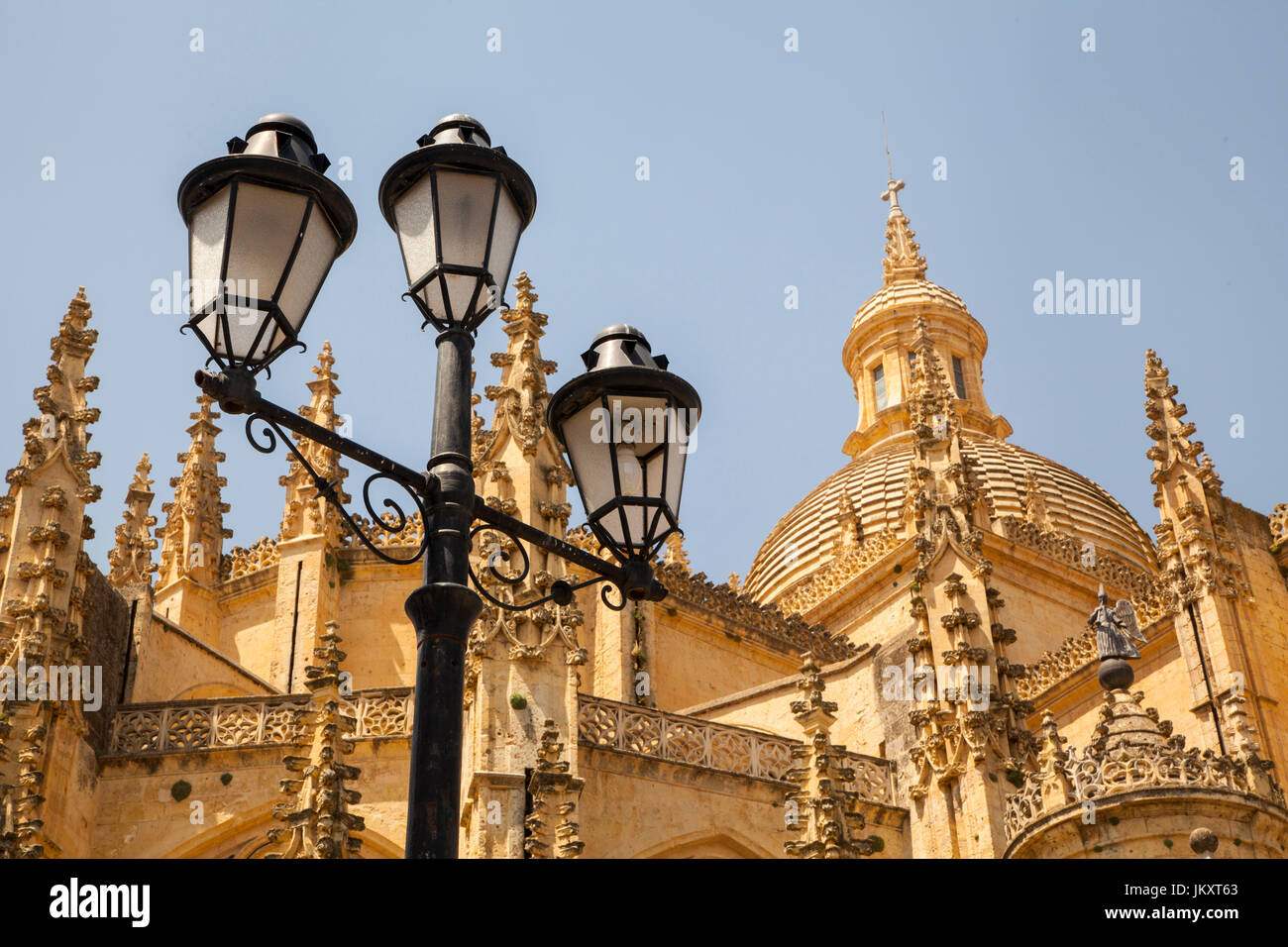 View of Segovia cathedral a UNESCO world heritage site in the Castilla Y Leon region of central Spain - Stock Image