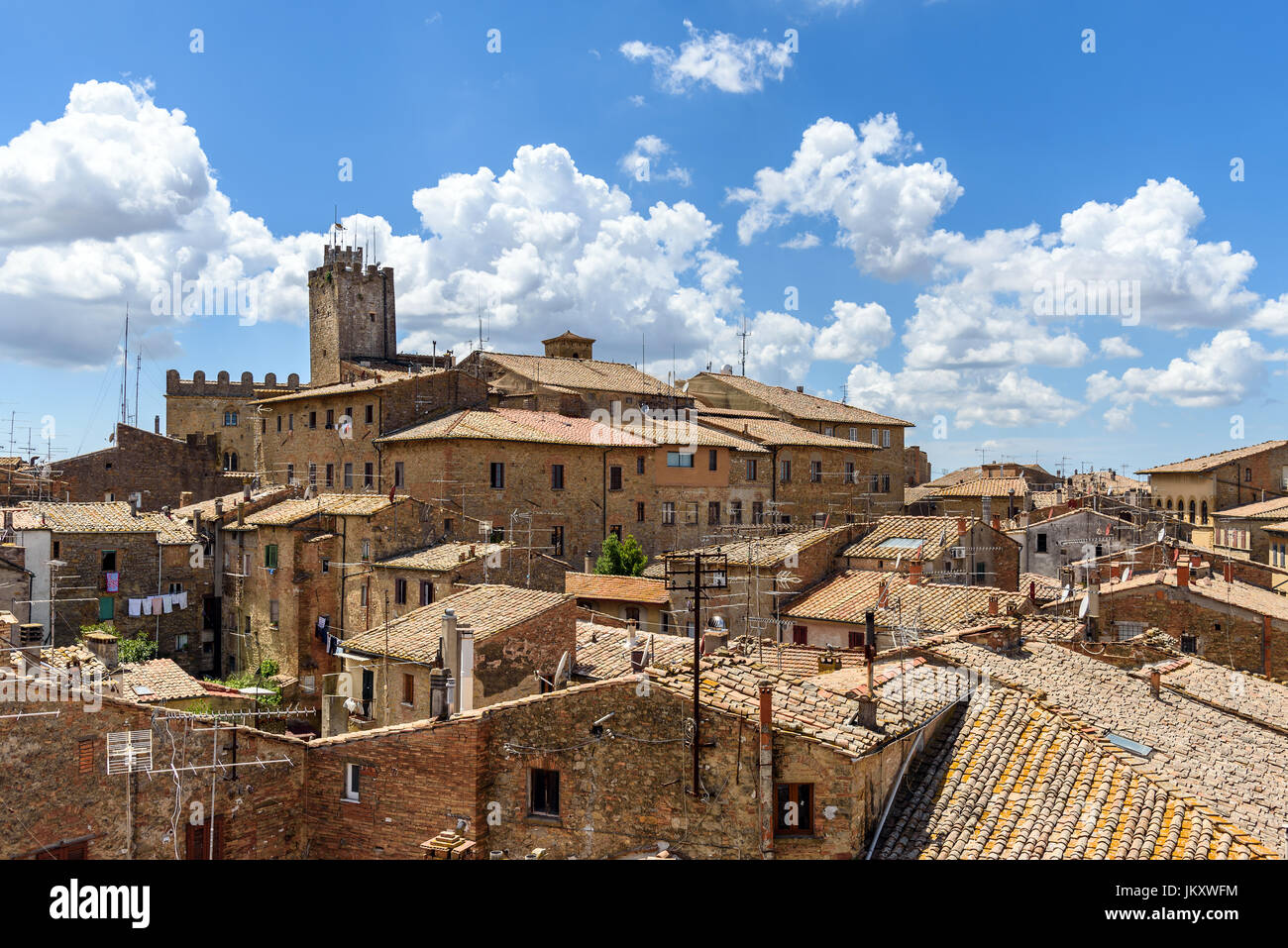 panoramic view of old town of Volterra, tuscany, italy - Stock Image