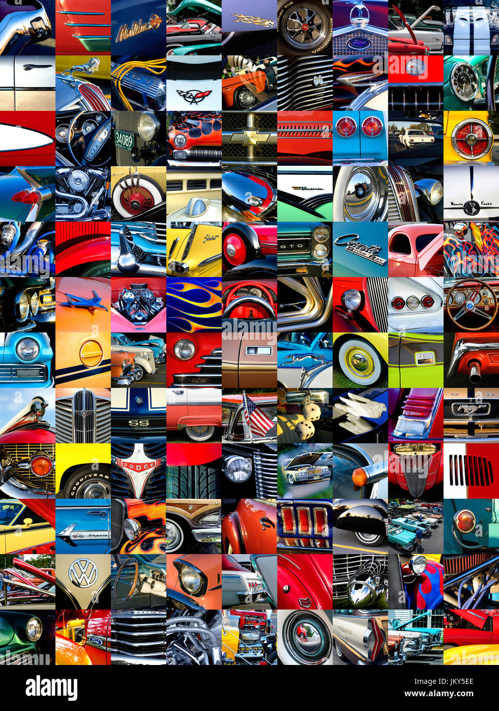 A mosaic of individual photos of cars and car parts accumulated over years of car shows and cruise nights. - Stock Image