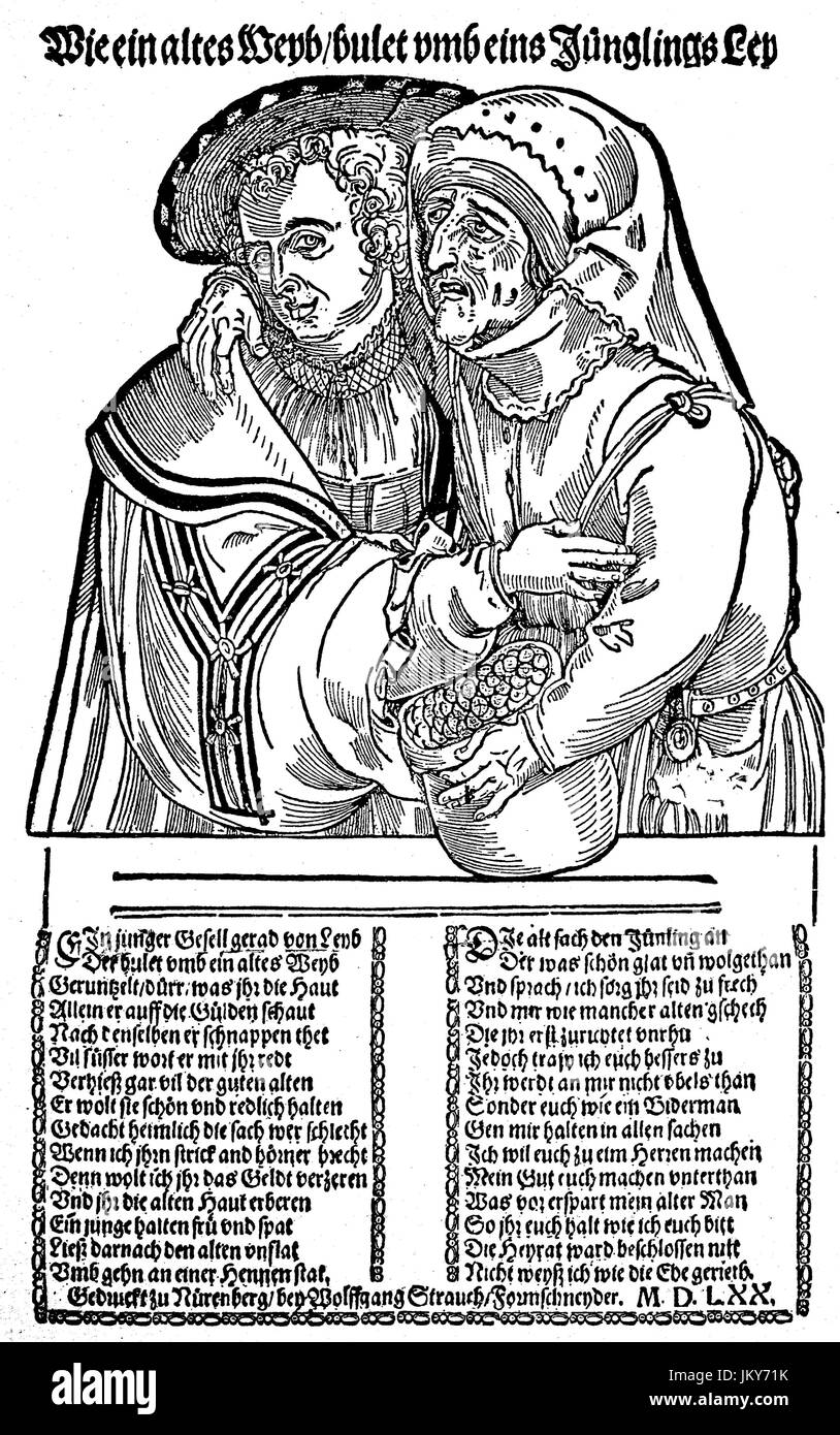 Digital improved:, The dissimilar love couple, satirical woodcut on the chimera of the old women, 1570, old woman - Stock Image