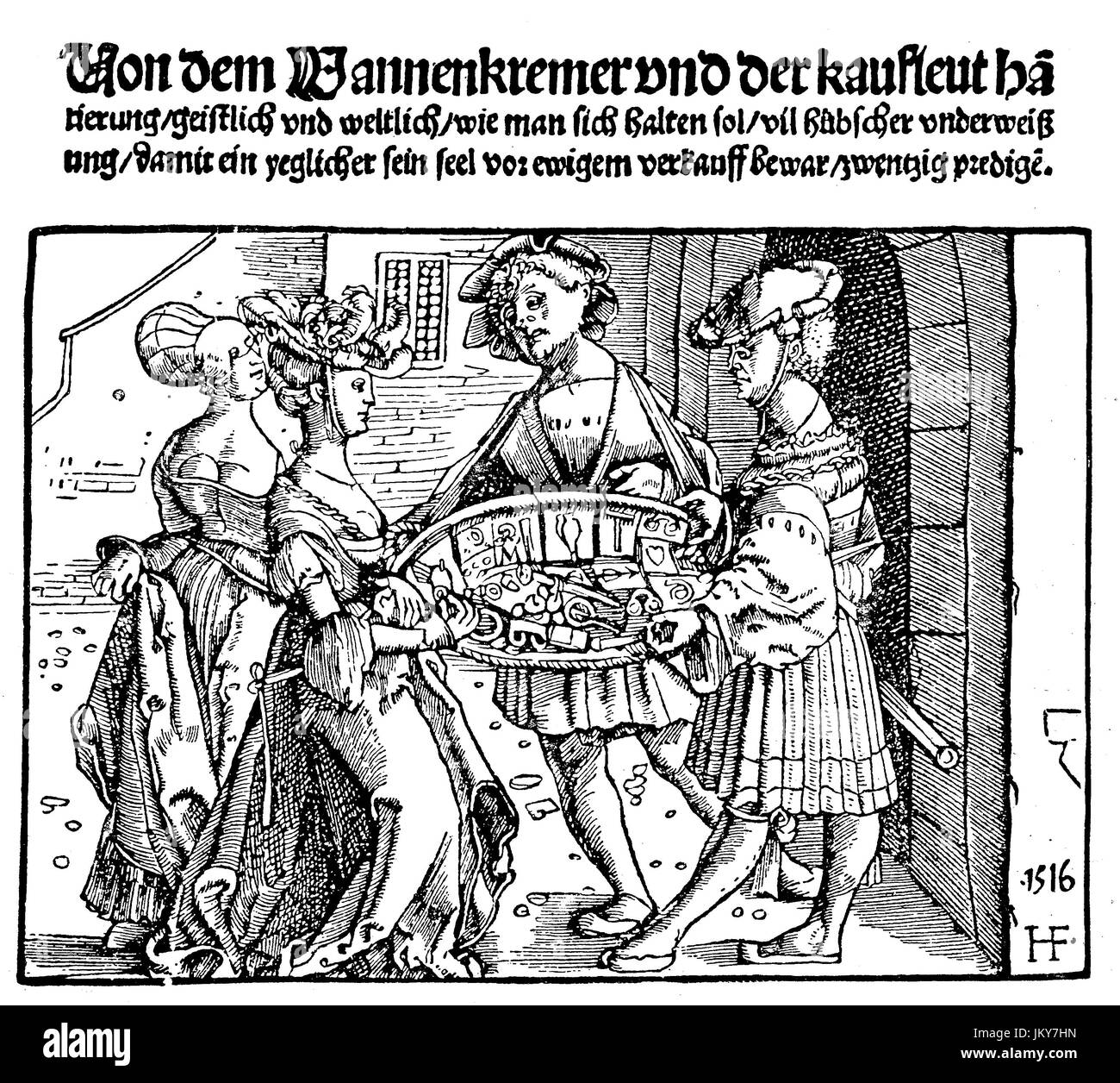 Digital improved:, Costumes, women examine the goods of the peddlers, merchants, woodcut of 1516, publication from - Stock Image