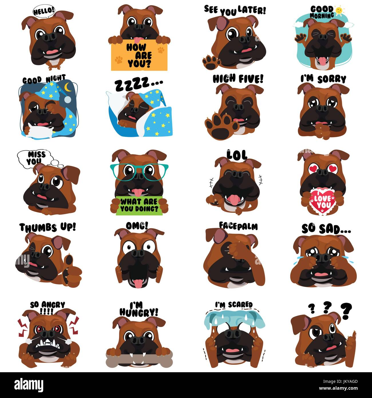 A vector illustration of Bulldog Dog Emoji Emoticon Expression - Stock Image