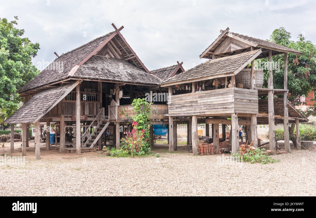 Traditional Thai Teak House In Nan Isaan Northern Thailand