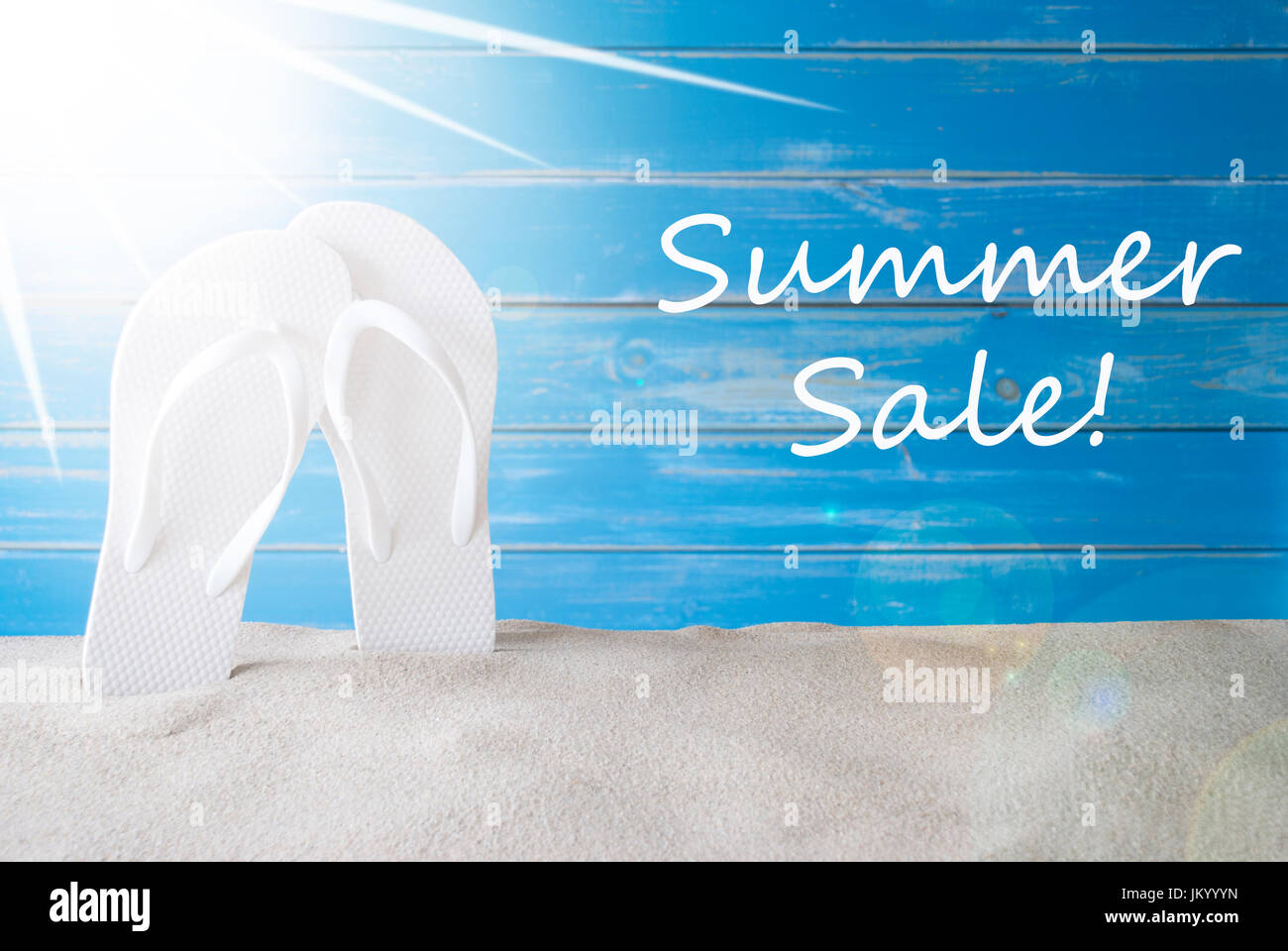 79db291ccb62 English Text Summer Sale. Sunny Summer Greeting Card With Sand And Flip  Flops. Blue