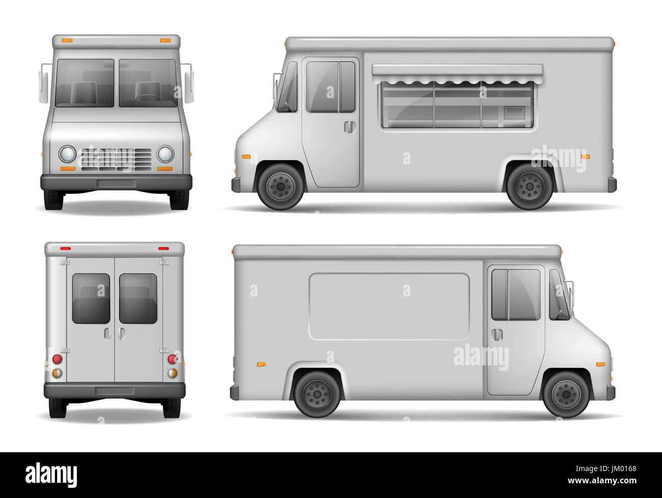 Food Truck Vector Template For Car Advertising. Service Delivery Van Isolated On White. Silver Delivery Truck from Stock Vector