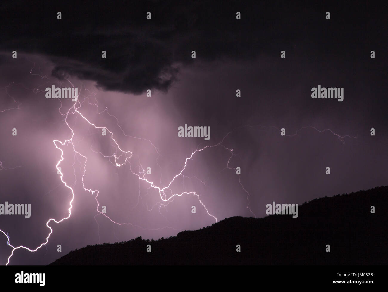 Lightning strike in the desert Stock Photo